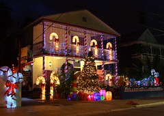 Merry Christmas From Key West! (PelicanPete) Tags: keywest florida unitedstates nature southflorida beauty monroecounty usa floridakeys islandchain tropical paradise warm fun exciting travel ninetymilesfromcuba atlanticocean street tree architecture christmas lights duvalstreet festive inthestreet handheld 12518 candycanes balcony building