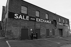 Sale and Exchange   -   Stables-Horses (fotofish64) Tags: building wall advertising wallsign nostalgic brickstructure window monochrome blackandwhite mono sheridanhollow albany albanycounty newyork capitaldistrict urban commercialbuilding outdoor pentax pentaxart kmount kp 15mm smcpentaxda15mmf4limitedlens wideangle