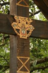 Roofed Cross (Derbyshire Harrier) Tags: 2018 romania magura summer june naturetrek transylvania tradition religious carving ornate mary christ virgin roofedcross