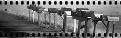 Shadow boxes (No Stone Unturned Photography) Tags: mailboxes mail shadows black white monochrome kodak folding expired ilford delta 100 35mm film sprocket holes jiffy camera art deco 1933 six16 616 panoramic