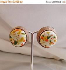 Vintage Earrings. Large Clip Earrings. Selini Paint Splatter Earrings. Orange, Green, Yellow Painted Bead Earrings waalaa. (waalaa) Tags: etsy vintage antique shopping jewelry jewellery gifts wedding
