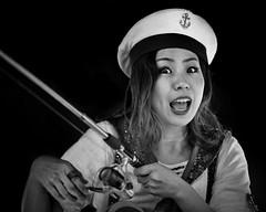 Ama (gro57074@bigpond.net.au) Tags: seawoman ama f14 105mmf14 artseries sigma d850 nikon 2019 february eyecontact woman tokyo fishing japanese robotcafe shinjuku japan monotone monochrome mono blackwhite bw guyclift