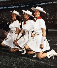 Oklahoma University Boomer Sooner cheerleaders, photo by Leon Trice for Esquire, October 1950 (gameraboy) Tags: oklahomauniversity boomersooner cheerleaders photo leontrice esquire october 1950 1950s cowgirl oklahoma ok vintage cheesecake college university