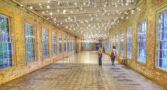 Where are we? (albyn.davis) Tags: building museum panorama hallway people light lights windows passage passageway color yellow massachusetts usa perspective interior architecture