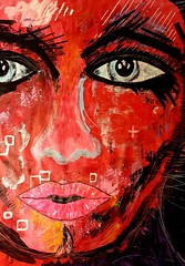 Aline (franck.sastre) Tags: red art colors visage painting picture street trazos