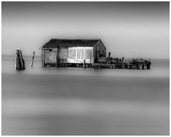 Little Hut on the Water (Andy J Newman) Tags: longexposure hut vulturelabs silverefex monochrome d810 italy venice fishing blackandwhite nikon sea