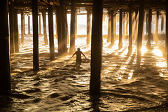 wading (Andy Kennelly) Tags: silhouette light beach pier los angeles pillars wade wading santa monica