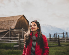 Beauty and the barn (Somsubhra Chatterjee) Tags: naturallight nature wyoming barn light beautiful girl woman lady face portrait grandteton