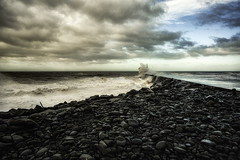 Tanybwlch Jetty, Aberystwyth (Elaine Delworth) Tags: aberystwyth wales seashore clouds beach waves sea sky water seascape