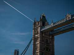 Intersection (Мaistora) Tags: bridge tower towerhill towerbridge river thames history historic architecture structure engineering british steel icon iconic airplane contrail line lines crossing intersection star geometry skyline