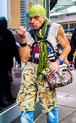 The New Yorkers - La mode (François Escriva) Tags: street streetphotography us usa nyc ny new york people candid olympus omd photo rue sun light man colors sidewalk manhattan green headband pants double bag blue