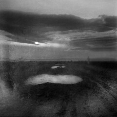 Far Beyond (Arslan Ahmedov) Tags: landscape black white road figure walking sky sunrise bw medium 120 square noir blanc bulgaria