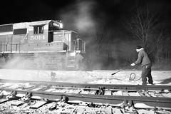 Snow patrol (DirtyDeeble67) Tags: sd402 emd emdsd402 snow snowstorm winter blackandwhite blackandwhitephotography photography pennsylvania pittston railroad freighttrain rbmn readingandnorthern readingnorthern longexposure longexposurephotography railroadlife nightphotography night