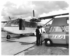 SWA Skyvan (North Ports) Tags: aviation nostalgia history archive black white bw heathrow 1970s egll lhr gawcs swa south west bea ground handling british european airways shorts skyvan