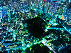 Night in Tokyo (Trey Ratcliff) Tags: japan stuckincustomscom tokyo treyratcliff cityscape blue green city scape above hdr hdrtutorial hdrphotography hdrphoto aurorahdr