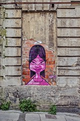 Mademoiselle Rose (Isa-belle33) Tags: wall mur fujifilm bordeaux fille children girl rose pink street streetphotography streetart streetartbordeaux window fenêtre old ancien