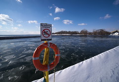 No Swimming in Harbour (Gavin Edmondstone) Tags: noswimminginharbour brontecreek bronteharbour oakville ontario ice laowa75mm ultrawideangle snow