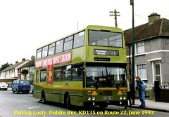 Route 22, Cabra West (Ventry Park) to Drimnagh. Dublin Bus, KD135, June 1993 (Shamrock 105) Tags: dublin dublinbus bombardier kd phibsborogarage 98fm busathacliath ventrypark drimnagh ashington