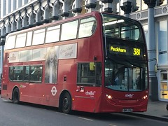 Back on familiar stomping ground and still with yellow blinds. Refurb is due though. | Abellio London ADL Enviro 400H (SN61DFX) working the 381 to Peckham. (alexpeak24) Tags: hybrid peckham waterloo 381 sn61dfx enviro400h alexanderdennis london abellio