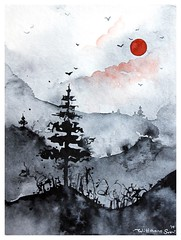 ❣️ Red & black ❣️           Sun and monochrome landscape.             Watercolor painting on paper 18x24cm (wittmannsvetlana) Tags: black red artwork watercolorart aquarelle monochrome fineart forest treescape landscape painting watercolour watercolor art