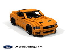 My other car IS a Mustang - 2018 GT 5.0 (lego911) Tags: ford mustang motor company s550 mca 2018 orange donald loud exhaust v8 50 coupe auto car moc model miniland lego lego911 ldd render cad povray usa america american afol foitsop
