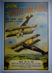 Join the Royal Air Force (Steve Taylor (Photography)) Tags: german biplane british fields ww1 firstworldwar poster art museum paper newzealand nz southisland canterbury christchurch aircraft aeroplane plane sky cloud airforcemuseum propellor landinggear smoke wheels wigram wings
