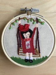 "#Girl #On #Swing With #Red #Dress And Black #Shoes #Embroidery 3 1/2"" #Hoop #Art https://www.ebay.com/itm/113685696953 #buynow #shoponline (deardebrafashiondesigns) Tags: girl on swing red dress shoes embroidery hoop art buynow shoponline"