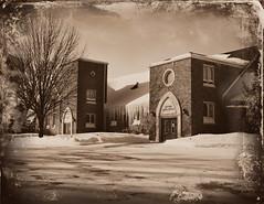 Lakeview Gospel Church (Dave Linscheid) Tags: jesuschrist savior sacrifice church christian faith snow winter texture textured tree sepia mtlake cottonwoodcounty mn minnesota usa picmonkey