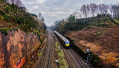 Horbury Cutting (Peter Leigh50) Tags: train trees track railway railroad rail cutting class 180 diesel multiple unit dmu rocks wall sky fujifilm fuji xt2
