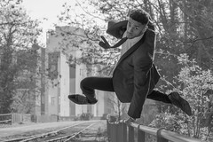 Jump (sdupimages) Tags: danseur dancer blackwhite noirblanc noiretblanc portrait nb bw monochrome saut jump parisien parisian paris street rue urbex man homme
