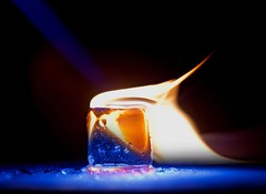 Fire and Ice (johnsinclair8888) Tags: hotorcold macromondays macro fire ice blue flame nikon d850 slidersundays