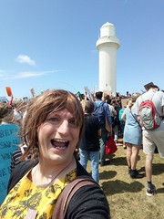 Lighthouse (justplainrachel) Tags: justplainrachel rachel cd tv crossdresser transvestite selfie selfportrait yellow dress frock political march protest climate ss4c cardigan wollongong nsw australia crowd