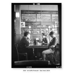 At Caffe Frascati (Godfrey DiGiorgi) Tags: fujigs645s hp5 bw cafe filmlab firstroll people ride scan testing sanjose california usa