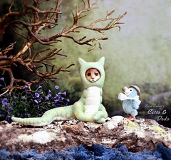 Catto 🐈🐍 and the dodo 🐦 (pure_embers) Tags: pure laura embers needlefelt doll dolls england uk pureembers catto mcsneck cat snake dodo photography photo portrait art cute fantasy scene magical world friends story lizzie needles bluemary toys