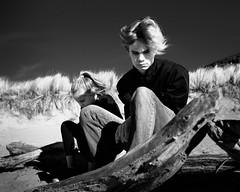 Bleak beach (jameswilkinson1) Tags: california summilux 28mm leica streetpassionaward streetphotography street bnw girl boy model beach travel