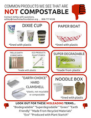 PRODUCTS THAT ARE NOT COMPOSTABLE courtesy Maui Huliau Foundation (mauitimeweekly) Tags: mauihuliaufoundation compost compostable products styrofoam alternatives alternative product