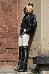 Tabea 45 (The Booted Cat) Tags: sexy blonde hair model girl leather jacket boots overkneeboots heels highheels