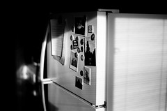 Fridge Magnets (H Polley) Tags: rollfilmweek rollfilm 35mm nikon nikonfm blackandwhite interior morninglight