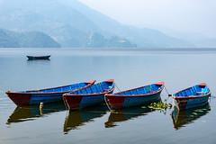 Phewa lake and the blue boats (Anderson Porfírio - Fotografia) Tags: asia nepal pokhara phewalake phewa lake lakes mountains boat boats colourful blue reflex water waterreflex idyllic peaceful scenic painting