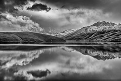 Topaz Lake Winter Reflection (Black and White) (Jeff Sullivan (www.JeffSullivanPhotography.com)) Tags: topaz lake winter gardnerville douglascounty nevada monocounty california usa eastern sierra landscape nature travel photography canon eos photo copyright 2019 jeff sullivan february on1 silver efex full contrast structure on1pics reflection snow blackandwhite 6d top140