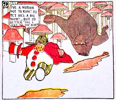 Flip running from a Gertie type Dinosaur 2484A (Brechtbug) Tags: flip running from gertie type dinosaur little nemo slumberland sunday funnies comic strip newspaper news paper 1913 color vaudville daily comics funny humor satire character characters clown clowns syndicate windsor mccay fantasy animation the new york herald tribune papers cartoonist animator brontosaurus city 2019 nyc prehistoric monster lizard creature green very much like sinclair oil gas station logo 1960s 1970s