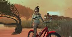 lσσkíng fσr чσu (Hүυη Ʀαyηε (hyunshiksantosh)) Tags: secondlife yorkshire pink sunny sunset bikecycle maiterya hair pose model alone thinking saturday adventure breeze close nature