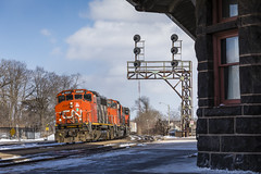 Looking Like '92 (Ryan J Gaynor) Tags: canadiannational cn train trains railroad railfan railway railroading brantford trainstation signals searchlightsignal emdgp402lw cndundassubdivision photography winter