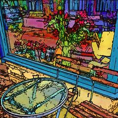 waiting for springtime (j.p.yef) Tags: peterfey jpyef yef streetcafe germany hamburg iphone photomanipulation texture digitalart table chairs outside window flowers square