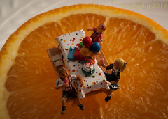Party on an Orange Slice (HMM) (13skies) Tags: orange party birthdayparty celebration picnictable happy cake balloons kids homodelrailroadfigures small modelrailroadfigures macroscopic macro sony sonya100