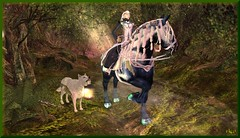 Lighting The way (0rco (more away than here at the moment)) Tags: elf elven elves elvion morning atmospheric animal wolf horse fantasy lamp secondlife serenity forest fairy faerie forestguardian prince trees