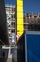 Bank Buildings, Belfast, from Fountain Street (John D McDonald) Tags: fountainstreet belfast northernireland ni ulster geotagged city urban bankbuildings thebankbuildings yellow container containers shippingcontainer shippingcontainers citycentre nikon d3300 nikond3300 blue sky bluesky