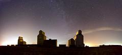 Mossleigh Panorama night Version 3 (John Andersen (JPAndersen images)) Tags: alberta elevators farm mossleigh night panorama sky stars train