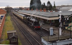 LMS Stanier Black 5 Locomotive No.45305 stands at Loughborough ready to take the first train of the day to Leicester North at 10.00. Great Central Railway 28 12 2018 (pnb511) Tags: greatcentralrailway trains railway locomotives loco steam station platform canopy carriage track smoke locomotive locos engine power 45305 5305 black5 class5