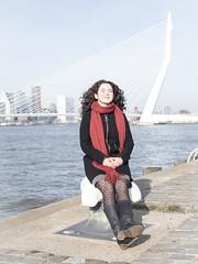Laura, Rotterdam 2019: Mirroring the bridge (mdiepraam) Tags: laura rotterdam 2019 portrait pretty attractive beautiful elegant classy gorgeous dutch brunette girl woman lady naturalglamour curls coat scarf boots stockings tights nylons erasmusbrug bridge maas river